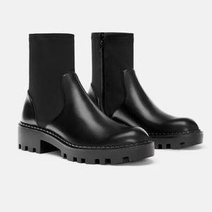 Zara Flat Elastic Black Ankle Boots